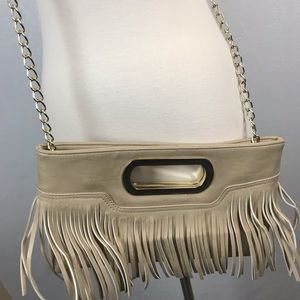 Charming Charlie Cream Fringe Vegan Leather Bag